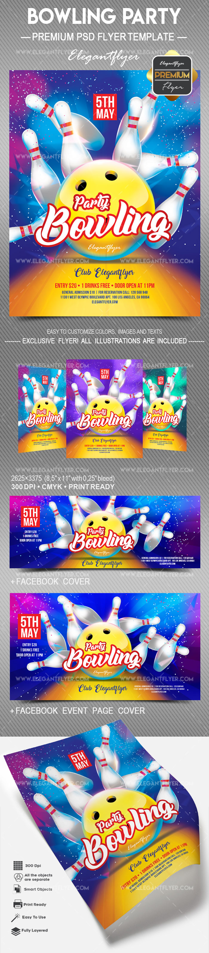 Bowling Party – Flyer PSD Template