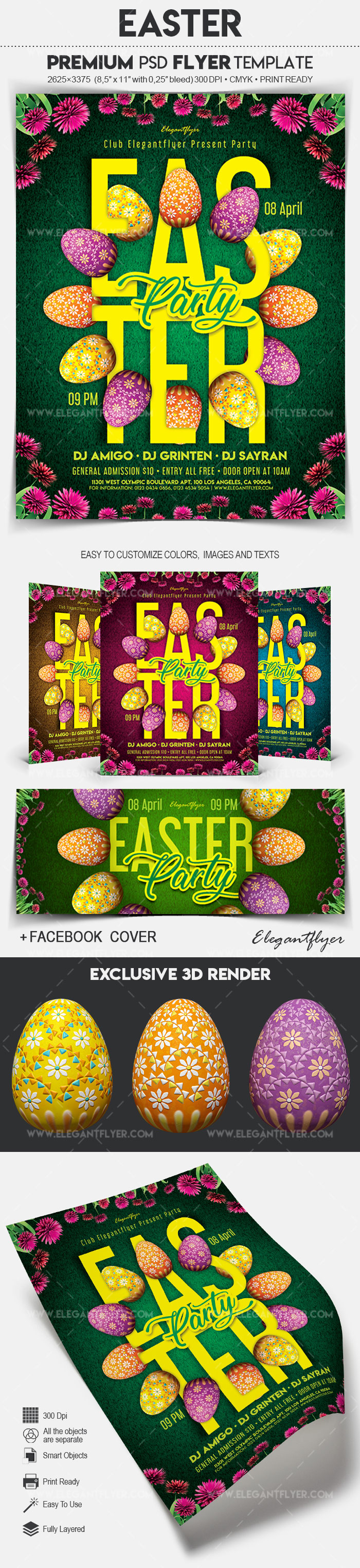 Easter – Flyer PSD Template + Facebook Cover