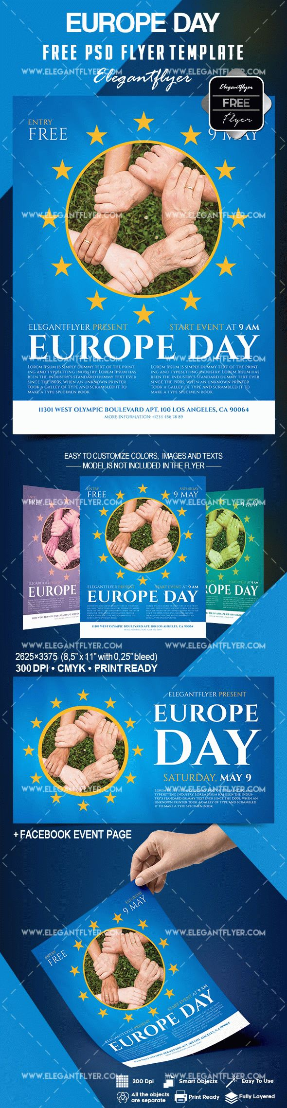 Free Europe Day Flyer Template