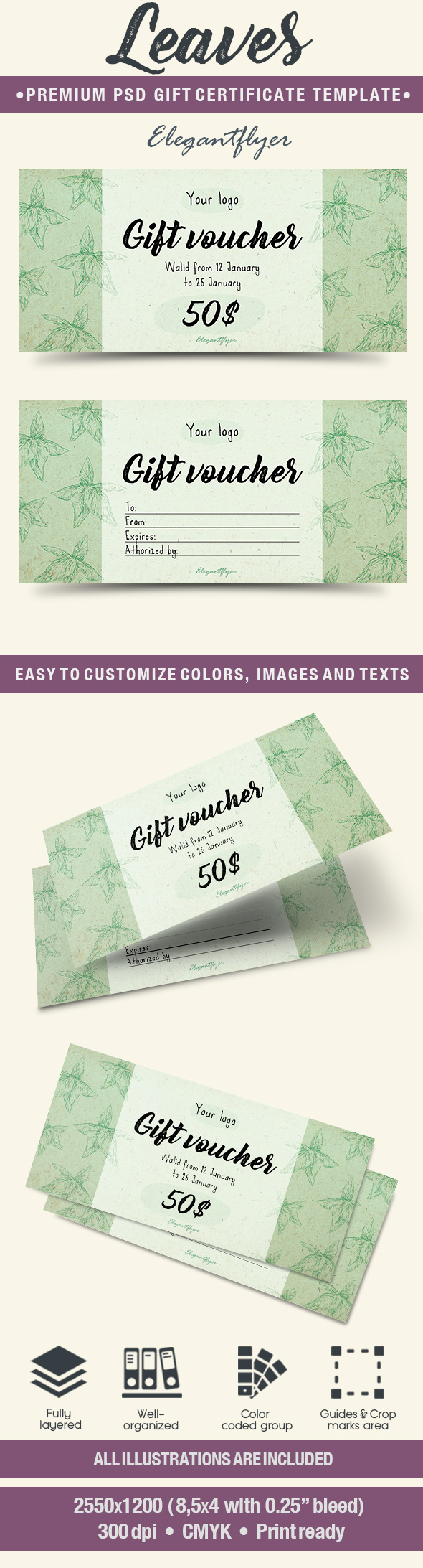 Leaves – Premium Gift Certificate PSD Template