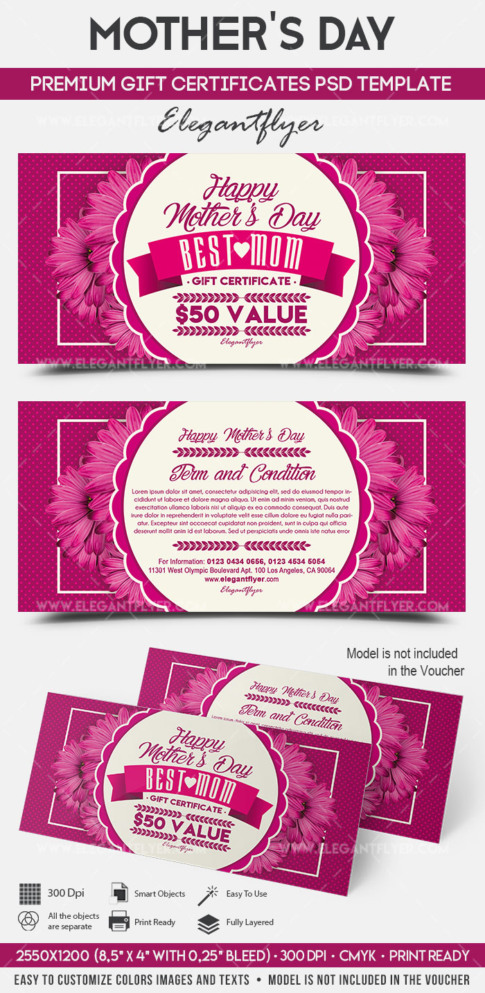 Mother's Day – Premium Gift Certificate PSD Template
