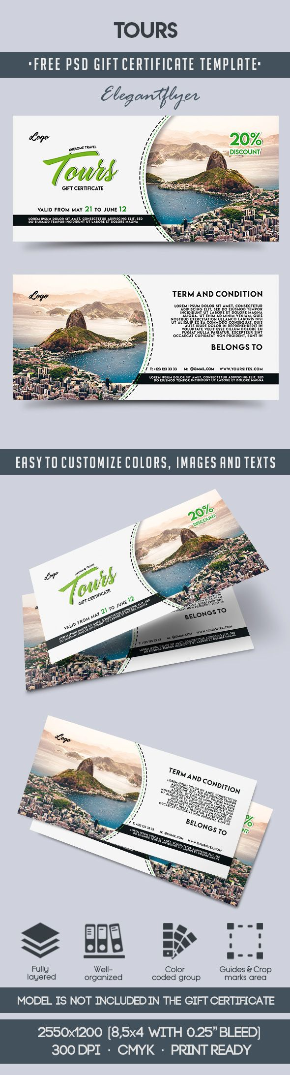 Tours – Free Gift Certificate PSD Template