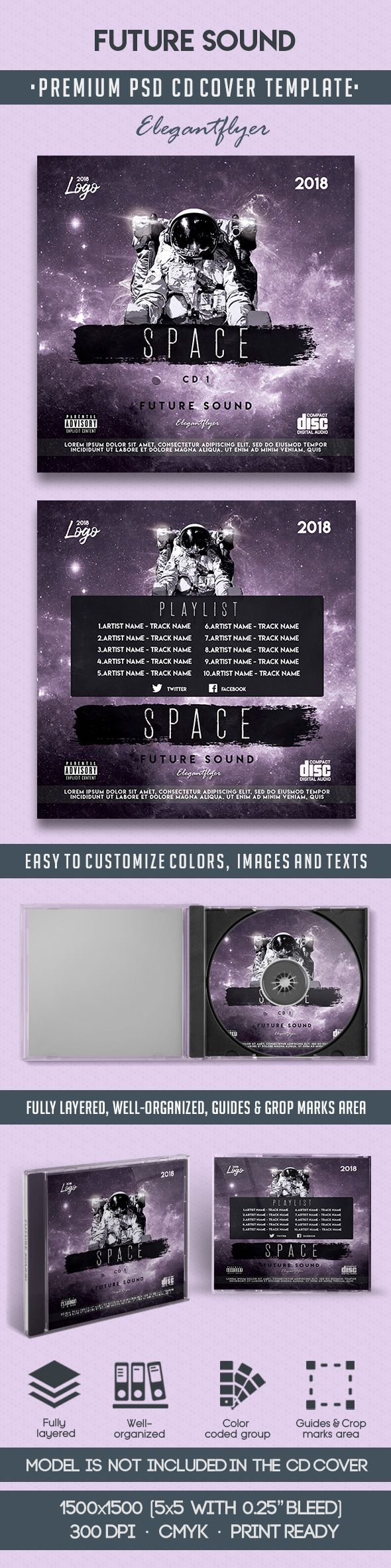 Future Sound – Premium CD Cover PSD Template