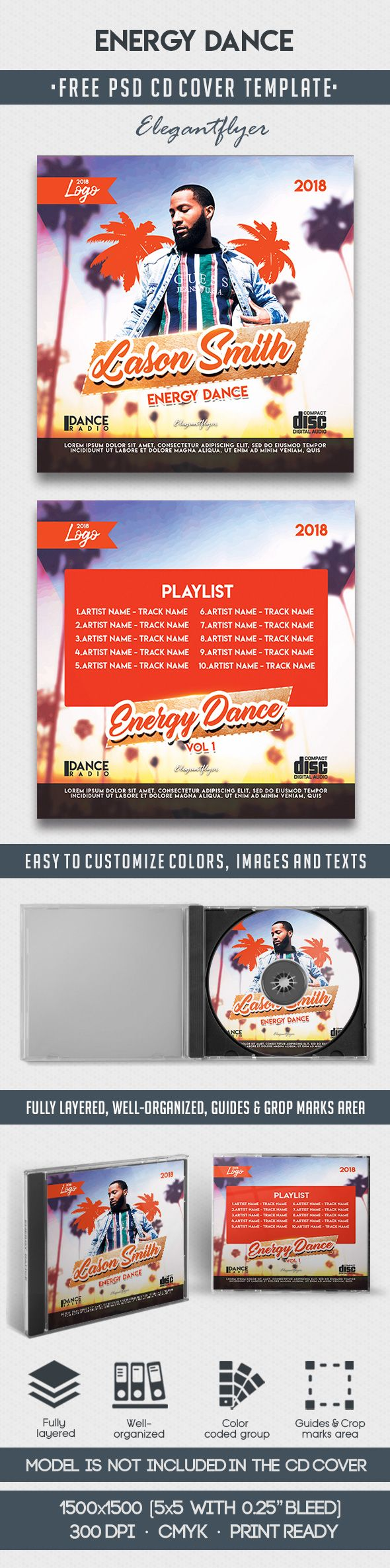 Energy Dance – Free CD Cover PSD Template