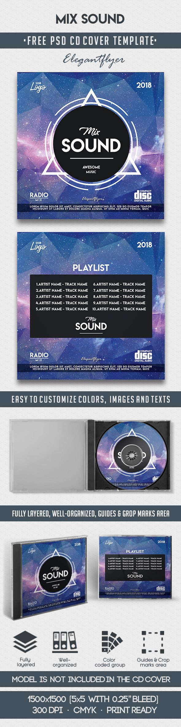 Mix Sound – Free CD Cover PSD Template