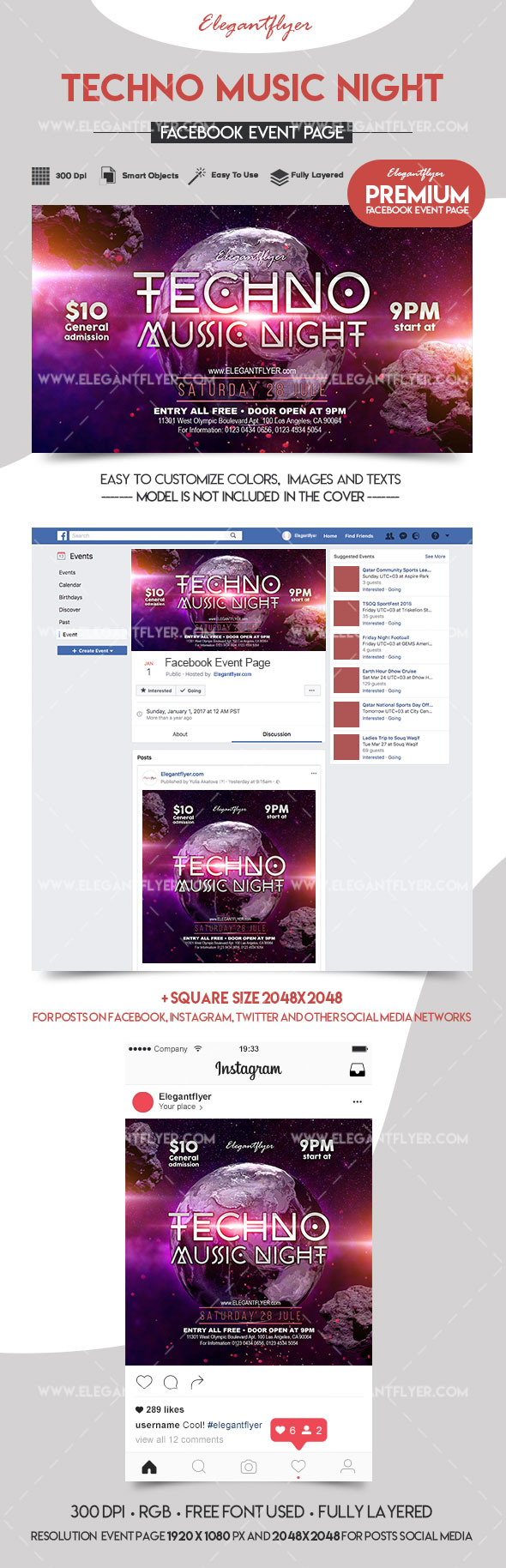 Techno Music Night – Premium Facebook Event Page