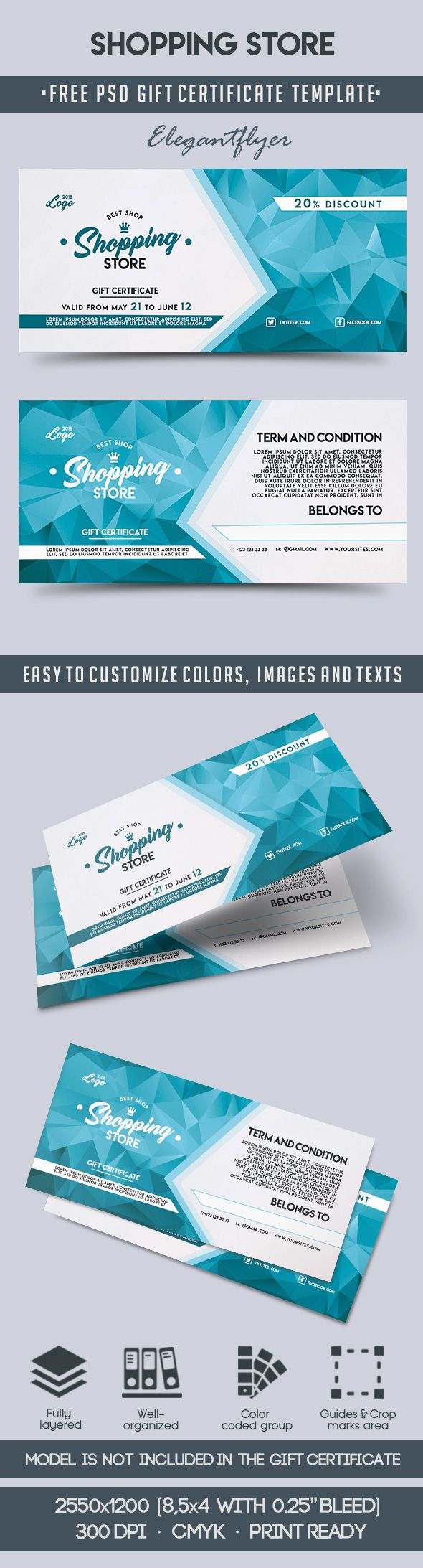 Shopping Store – Free Gift Certificate PSD Template