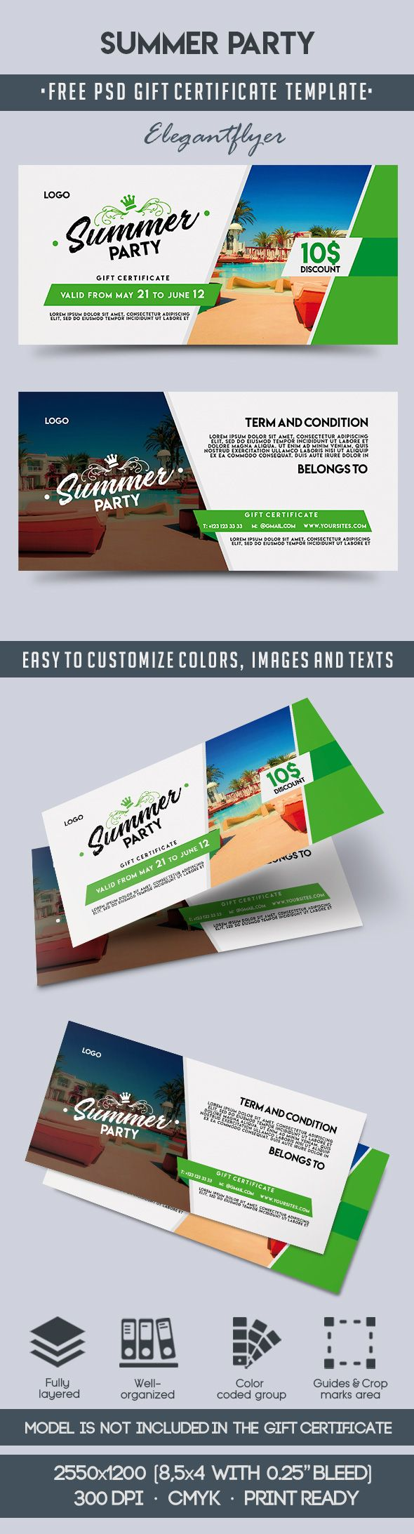 Summer Party – Free Gift Certificate PSD Template
