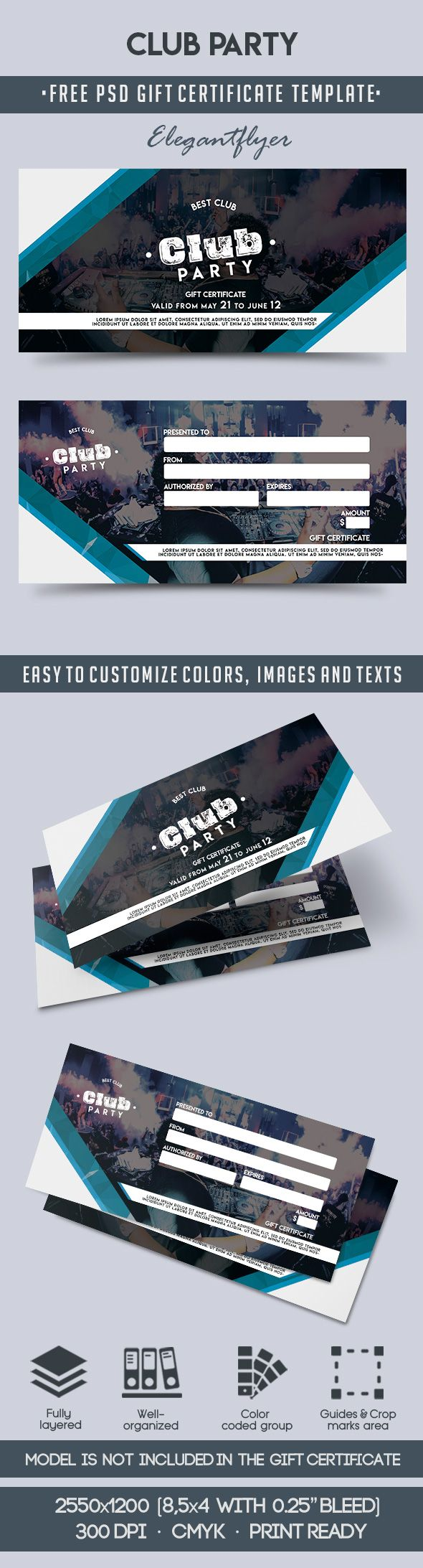 Club Party – Free Gift Certificate PSD Template
