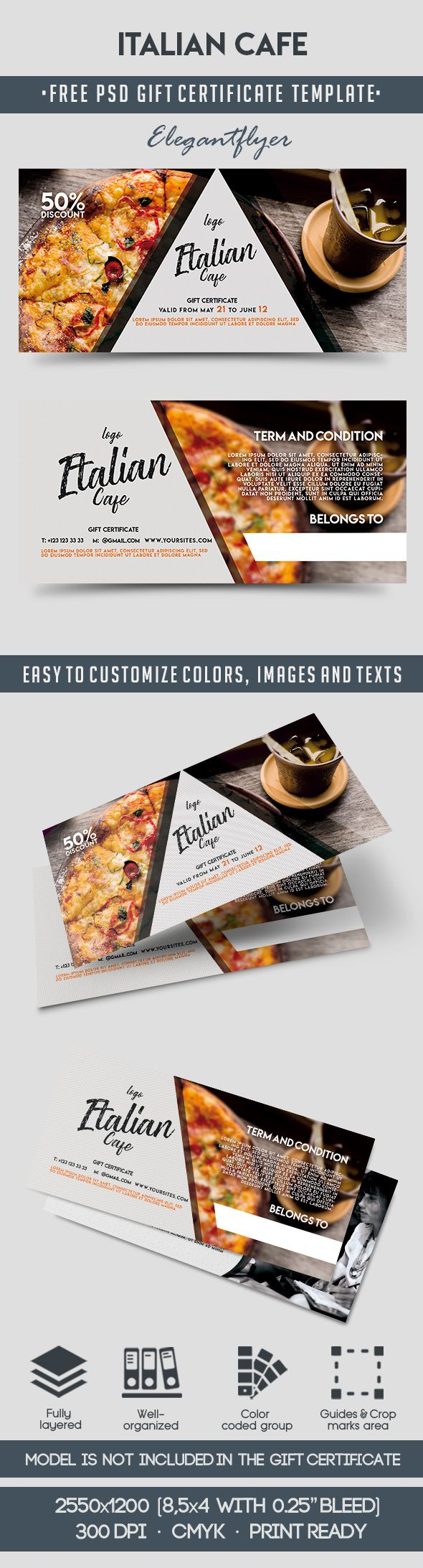 Italian Cafe – Free Gift Certificate PSD Template