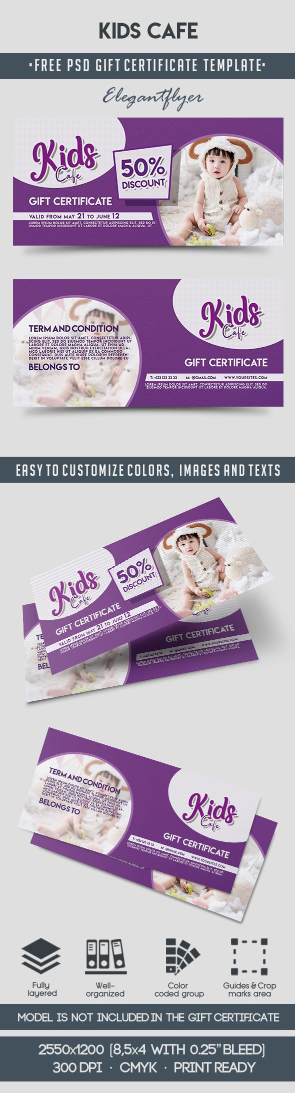 Kids Cafe – Free Gift Certificate PSD Template