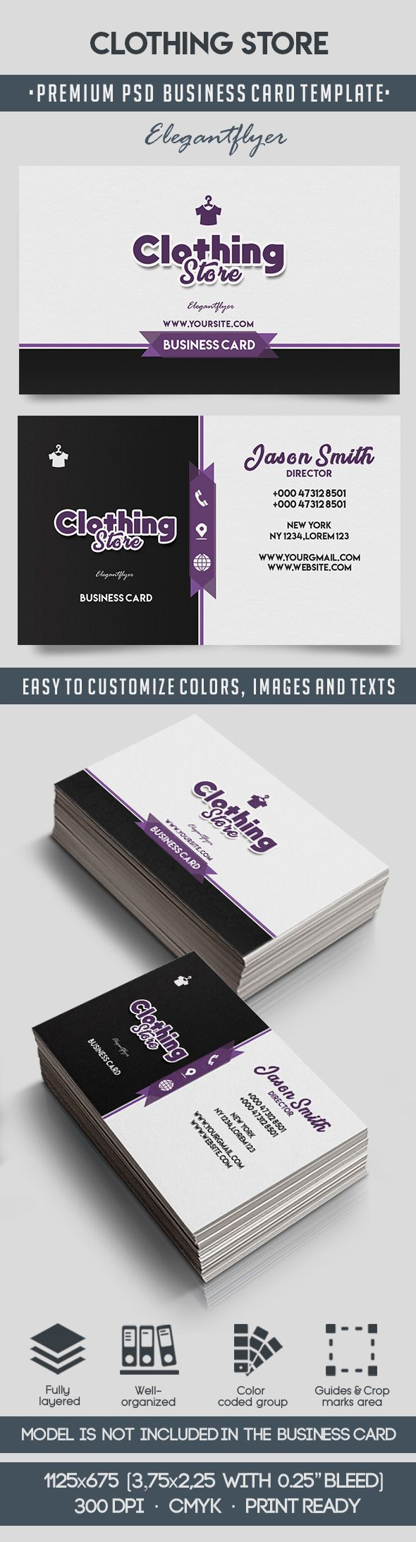 Clothing Store – Business Card Templates PSD – by ElegantFlyer