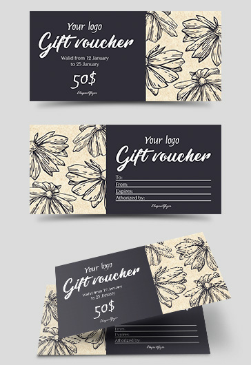 Flowers PSD Gift Voucher