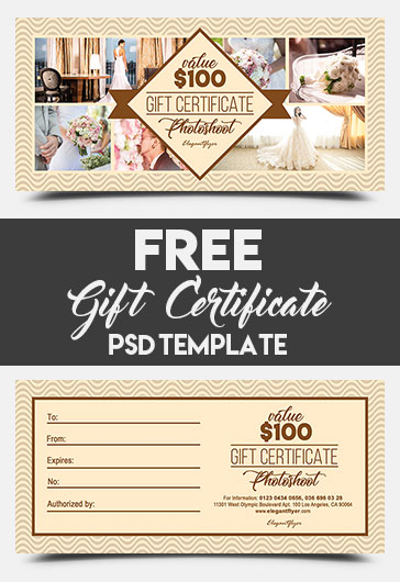 Photoshoot – FREE Gift Certificate PSD Template – by ...