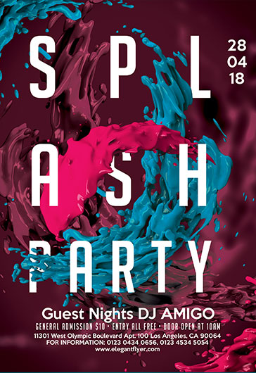 Splash Party  Flyer Psd Template  By Elegantflyer