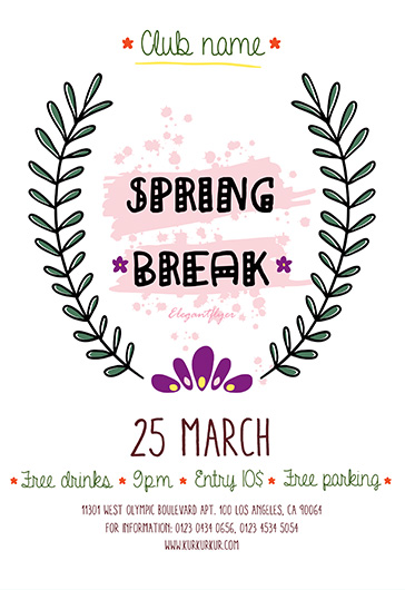 Spring Break – Free Flyer PSD Template