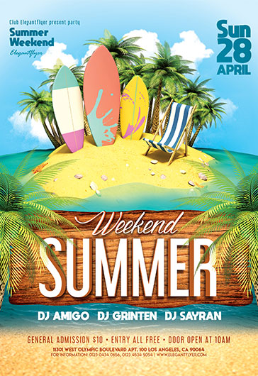 Summer Weekend V02 – Flyer PSD Template