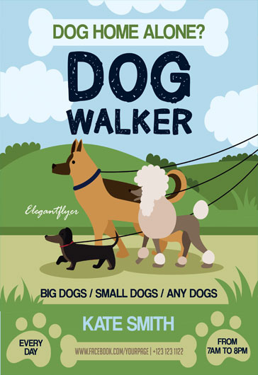 Free psd flyer templates by elegantflyer for Dog walking flyer template free