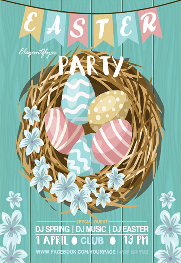 Flyer PSD for Spring Tree Flowers Party