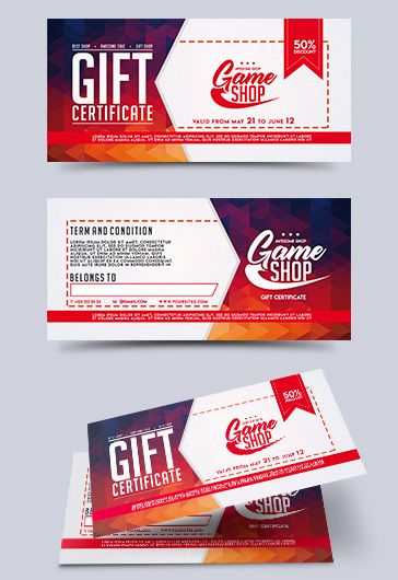 Game Shop – Premium Gift Certificate PSD Template