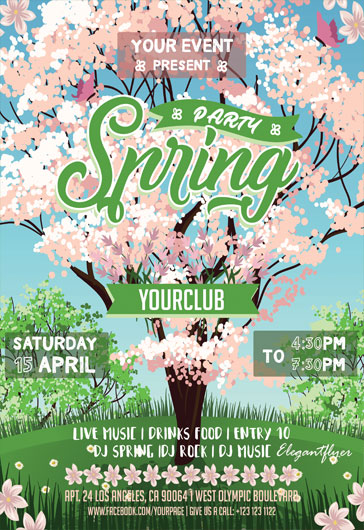 Flyer Psd For Spring Tree Flowers Party  By Elegantflyer