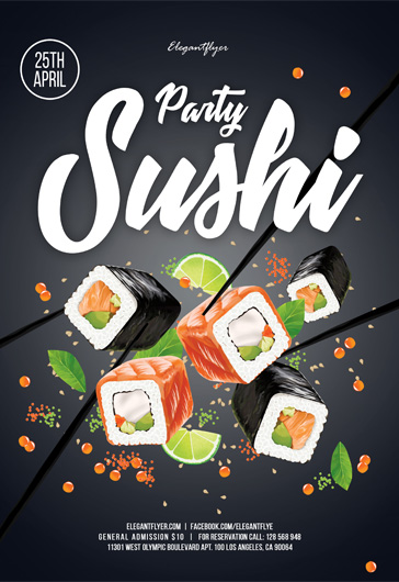 Sushi Party – Flyer PSD Template