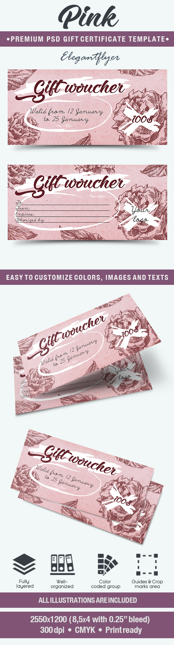 Pink PSD Gift Certificate Template