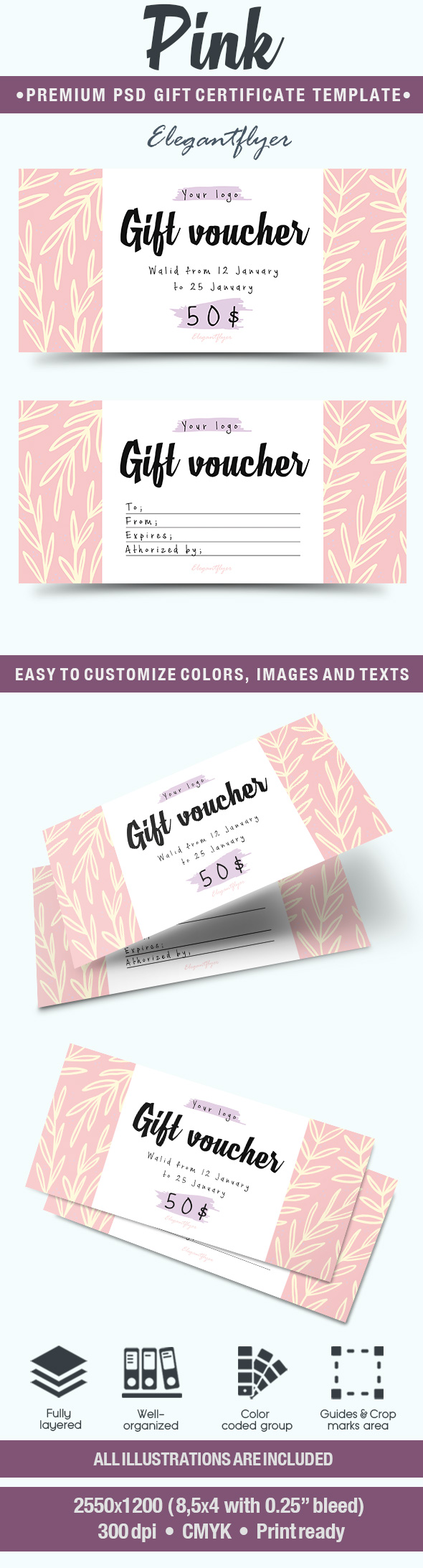 Gift Certificate for Pink Template