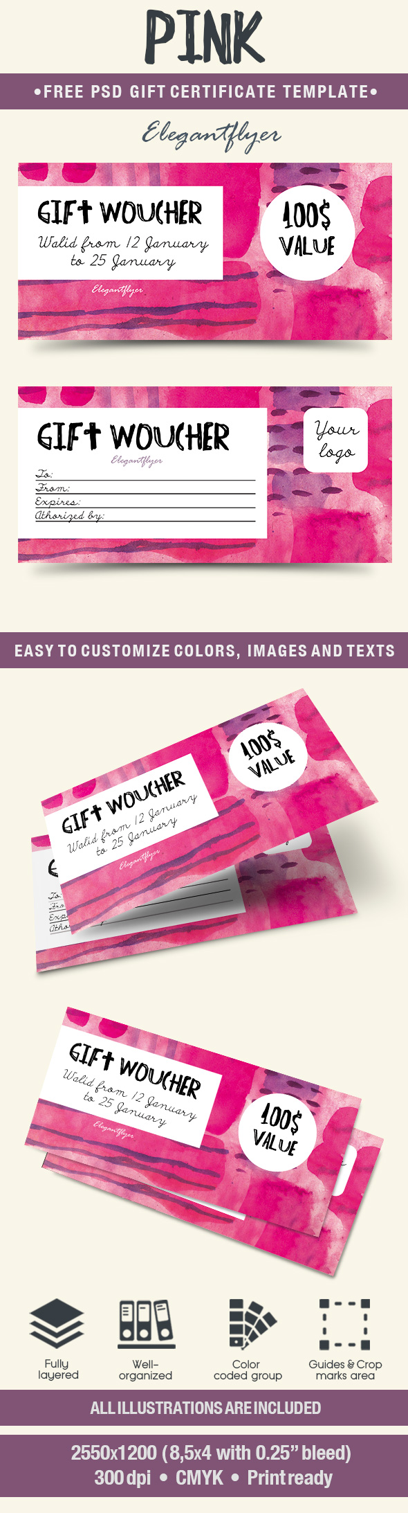 Pink – Free Gift Certificate PSD Template