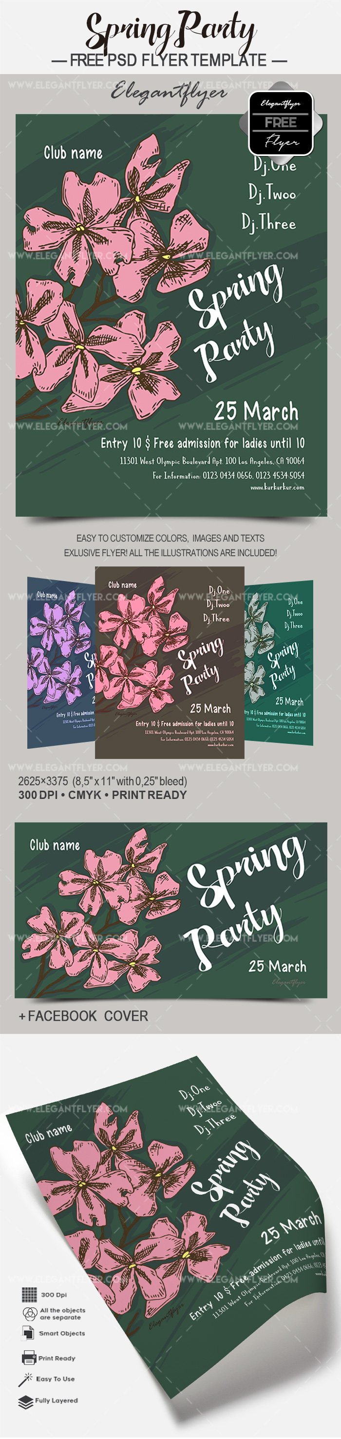 Spring Party – Free Flyer PSD Template