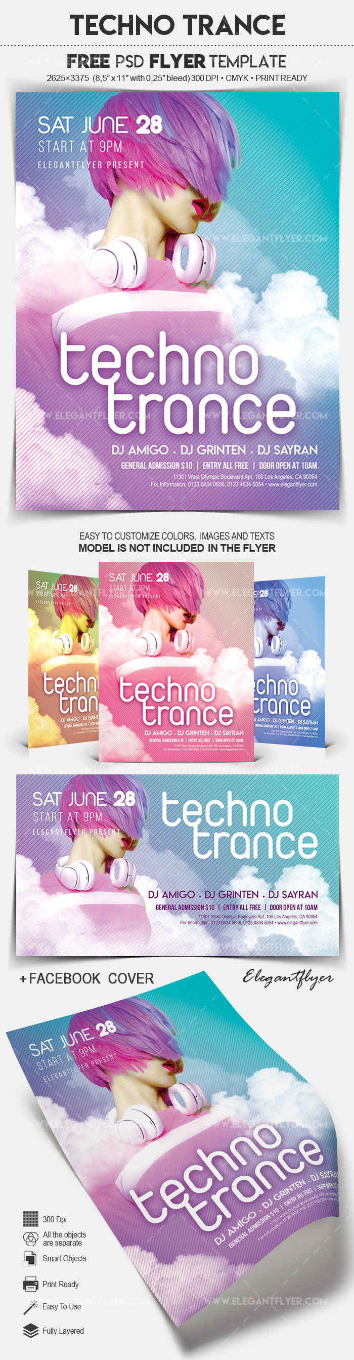 Techno Trance – Free Flyer PSD Template