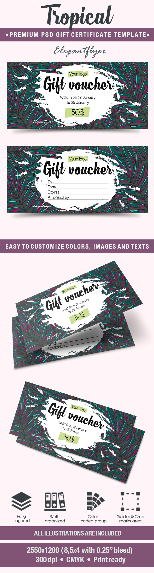 Tropical – Premium Gift Certificate PSD Template