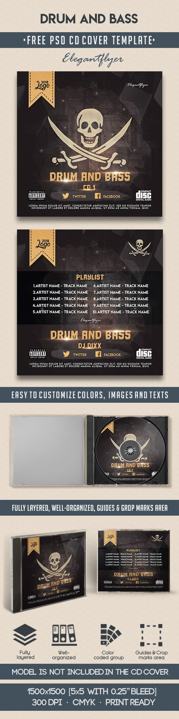 Drum And Bass – Free CD Cover PSD Template