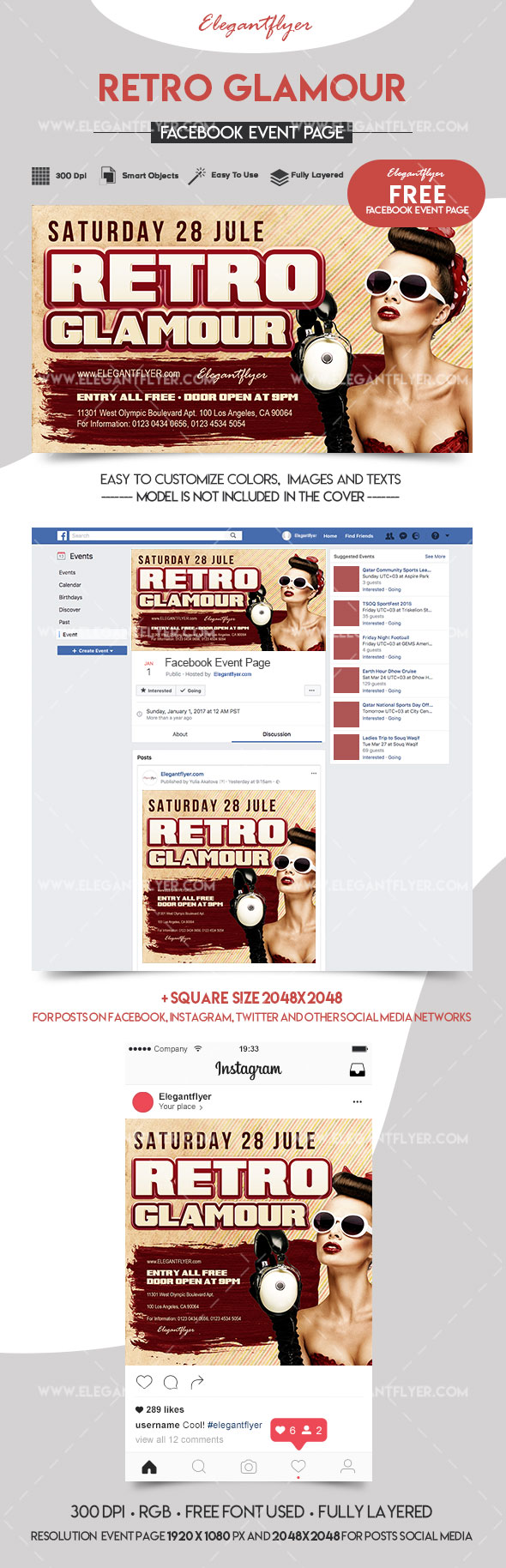 Retro Glamour – Free Facebook Event Page