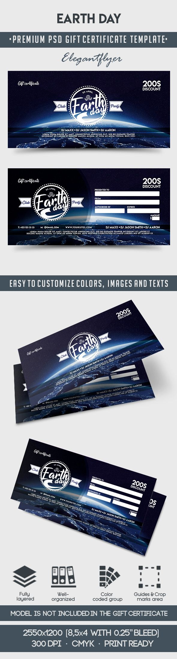 Earth Day – Premium Gift Certificate PSD Template