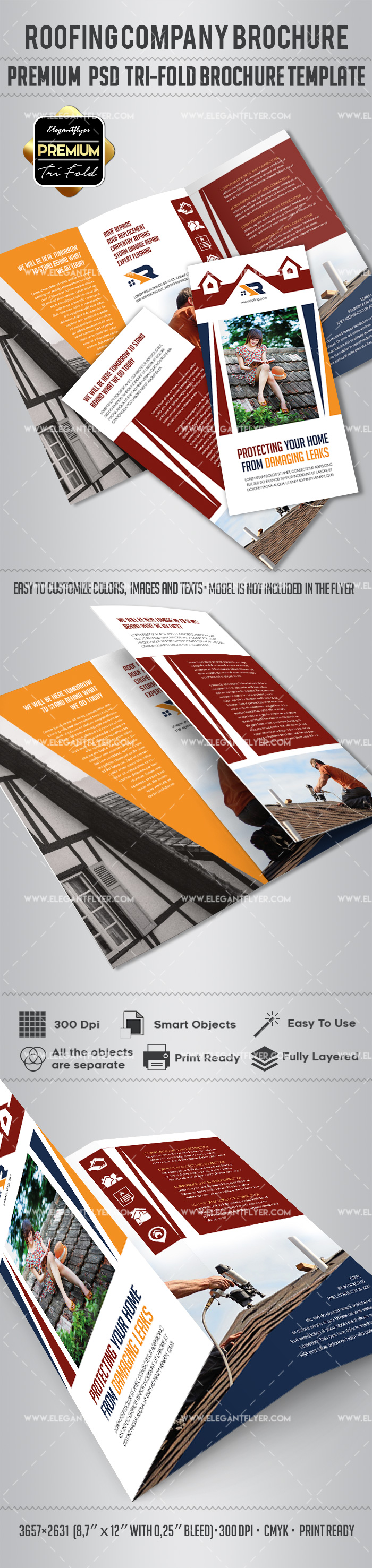 Roofing Company – Premium Tri-Fold PSD Brochure Template