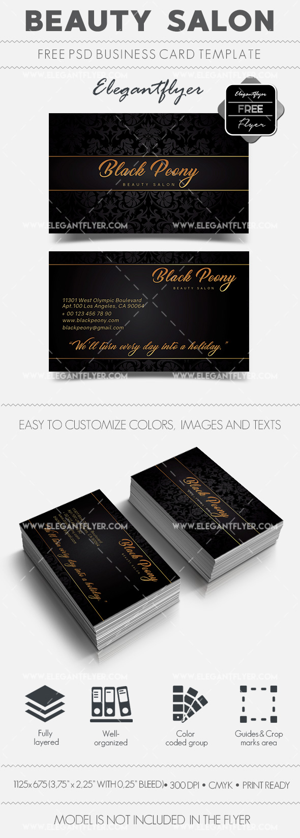 Beauty salon free business card design by elegantflyer beauty salon free business card design reheart Gallery