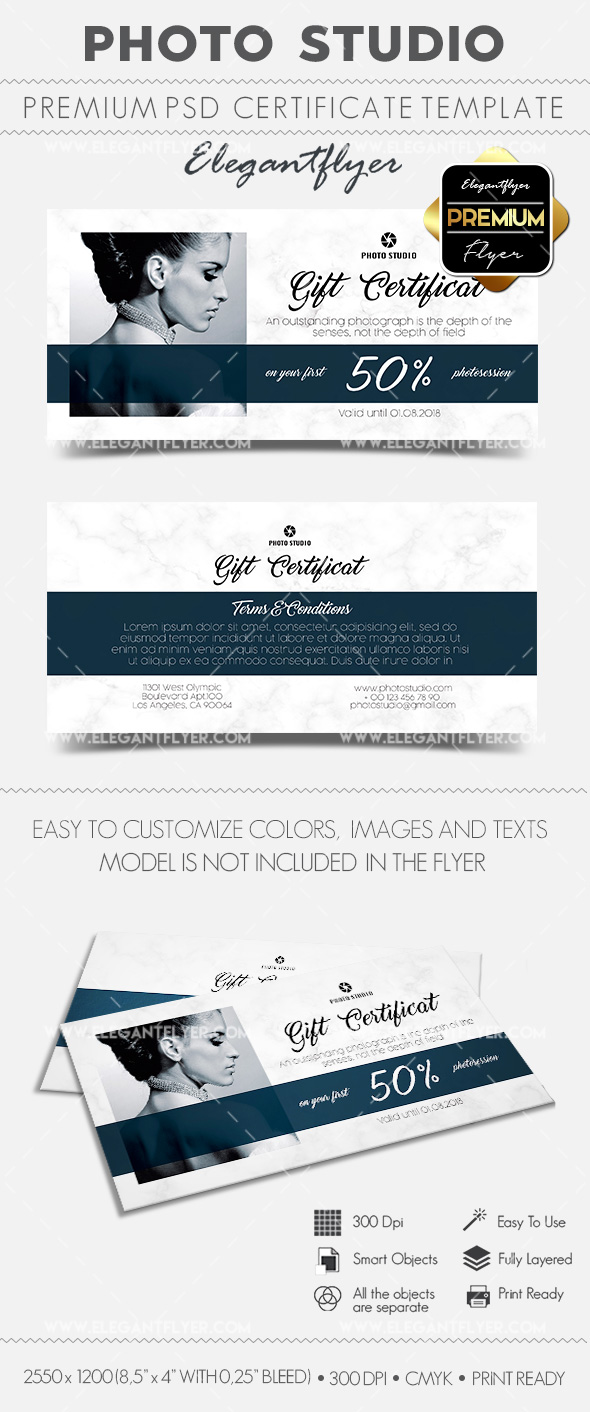 Photo Studio – Gift Certificate PSD Template