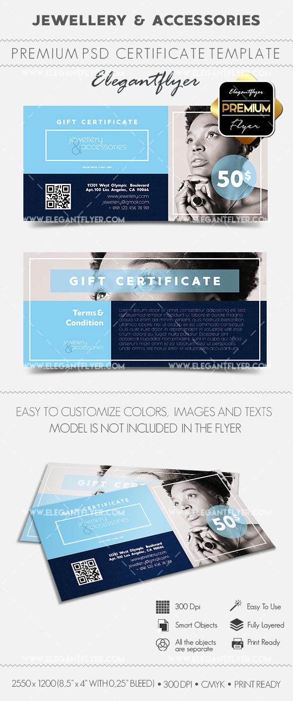Jewellery & Accessories – Gift Certificate PSD Template