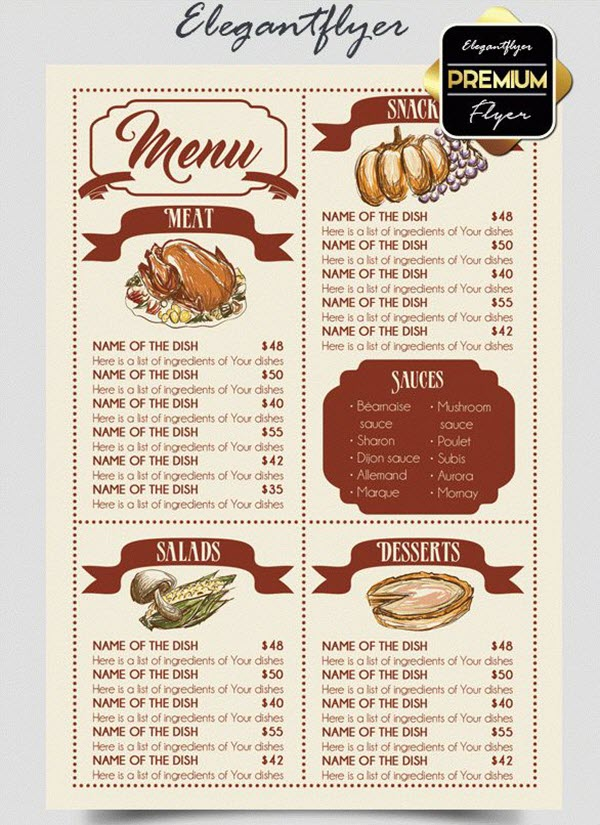 15+ Free & Exclusive Menu PSD Templates for Cafes and Restaurants