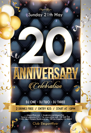 25 Anniversary – Free PSD Flyer Template + Facebook Cover + Instagram Post