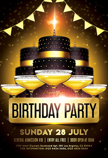 birthday party flyer psd template by elegantflyer