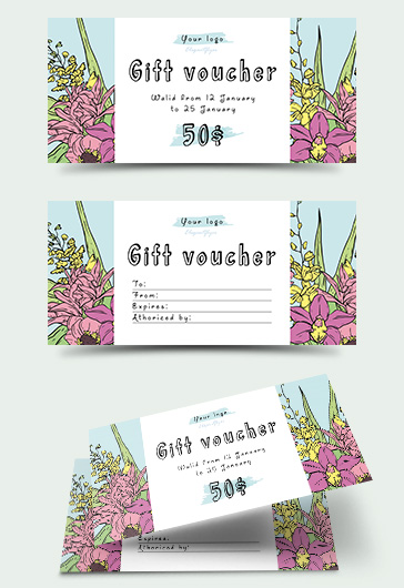 Template for Flower Gift Certificate