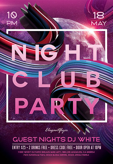 Glow Party – Free Flyer PSD Template