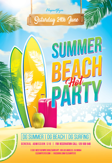 Flyer for Summer Beach Hot Party