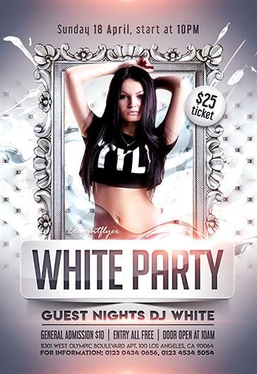 Template Flyer for All White Party