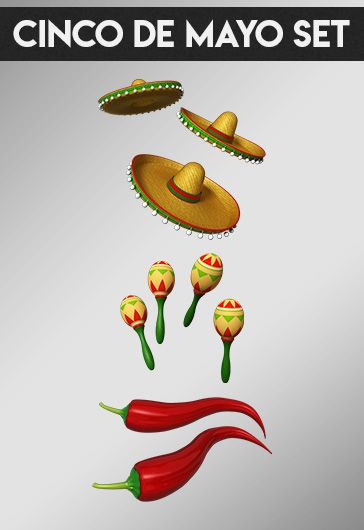 Cinco de Mayo Set – Free 3d Render Templates