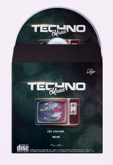 Minimal Techno – Premium CD Cover PSD Template
