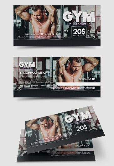 GYM – Free Gift Certificate PSD Template