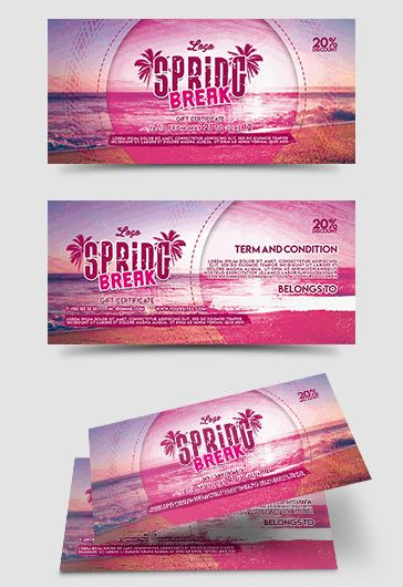 Spring Break – Free Gift Certificate PSD Template